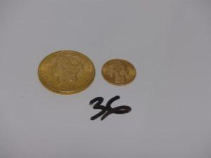 2 Pièces d'or : 1 de 20 Dollars Tête de Liberté 1904 et 1 de 20frs RF1913. PB 39,9g