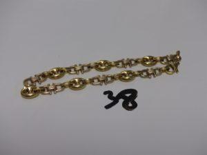 1 bracelet maille grain de café et maille étrier en or (L20cm, fermoir à fixer). PB 14,6g