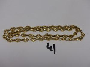 1 collier maille grain de café en or (L62cm). PB 65,7g