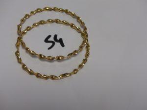2 bracelets joncs torsadés en or (diamètre 6cm). PB 26,1g