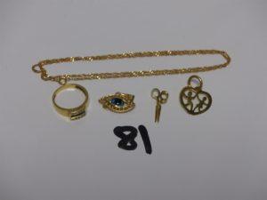 1 chaîne fine maille torsadée (L46cm), 1 bague ornée de petites pierres bleues et petits diamants (td51) et 3 pendentifs (1 coeur, 1 paire de ciseaux, 1 oeil bleu). Le tout en or PB 8,4g