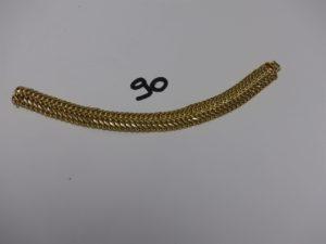 1 Bracelet double maille festonnée en or (L19cm). PB 20,2g