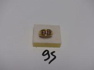 1 bague en or ornée de petites pierres rouges et petits diamants (td55). PB 6,4g