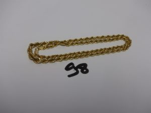 1 collier maille corde en or (L46cm). PB 11,2g