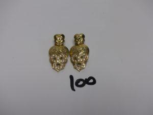 2 pendants en or motif central orné de petites pierres (H4cm). PB 11,6g