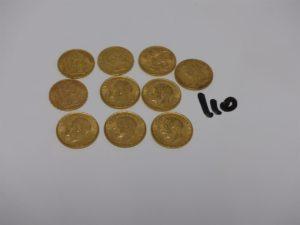 10 pièces d'or : 7 souverains George V (1893/1912/1913 et 4 de 1918) et 3 pièces de 20Frs (RF1876A/RF1895A/NAPIII1853A). PB 75,1g