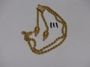1 collier maille corde en or motif central orné de petites pierres (L56cm). PB 41,9g