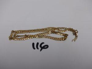1 chaîne maille gourmette en or (cassée). PB 17,7g