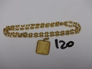1 chaîne maille grain de café en or (L50cm) et 1 pendentif plaque gravée en or . PB 16,3g