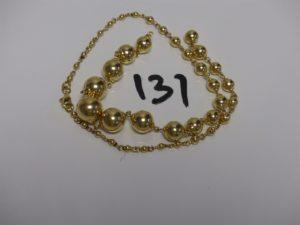 1 collier boules en or (cassé). PB 13,3g