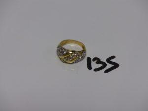 1 bague en or ornée de pierres (Td56). PB 5,4g