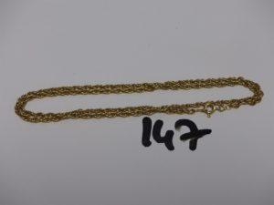 1 chaîne maille tressée en or (L46cm). PB 8,9g