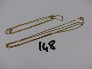 2 chaînes en or : 1 maille plate (L54cm) 1 maille forçat (L40cm). PB 7,2g