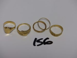 1 alliance 3 brins 3 ors (Td52) 1 chevalière en or cassée (gravée à l'intérieur, Td50), 1 bague en or poli (Td53) 1 bague monture martelée en or (Td52). PB 10g