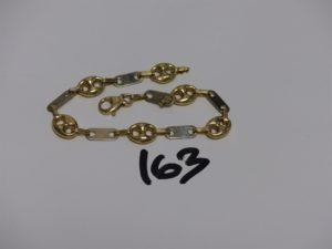 1 bracelet maille grain de café ronde et plate en or (L21cm). PB 9,8g