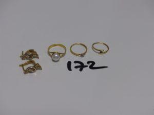 3 bagues en or : 1 rehaussée d'1 perle (Td54) 1 ornée d'1 petite pierre bleue (Td49) 1 ornée d'1 petit diamant (Td49) et 1 paire de boucles en or monture bicolore ornée de petites pierres. PB 8,3g