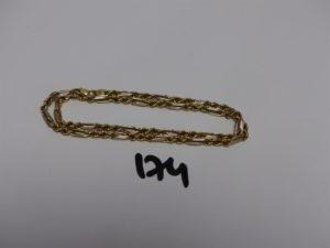 1 collier en or maille corde et maille tressée (L44cm). PB 13g