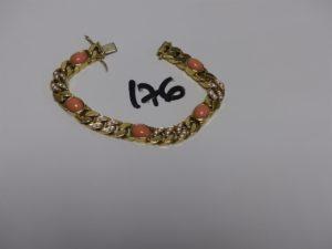 1 bracelet maille gourmette en or ornée de 5 pierres roses cabochon et de petites pierres blanches (L20cm). PB 58g g