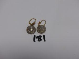 1 paire de pendants en or et argent ornés de pierres. PB 8,9g