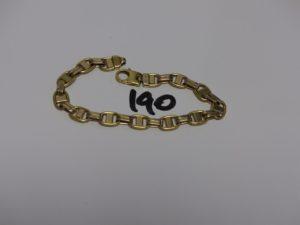 1 bracelet maille marine en or (L20cm). PB 27,6g