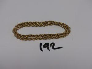 1 collier maille corde en or chaînette entrelacée (L40cm). PB 16,1g