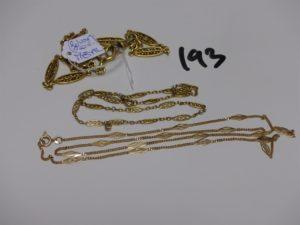 1 collier en or orné de motifs ouvragés (L54cm) et 1 bracelet double rang en or à motifs filigranés rehaussés de petites perles (L15cm). PB 8,6g (+1 giletière en métal, fermoir en or)