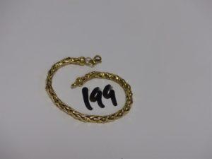 1 bracelet maille palmier en or (très abîmé,L19cm). PB 10,1g