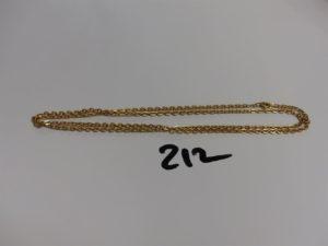 1 chaîne maille jaseron en or (L60cm). PB 10,8g