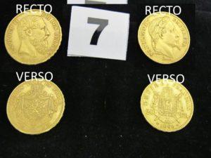 1 pièce en or de 20 Fr Léopold II (année 1875) et 1 pièce en or de 20 Fr Napoléon III tête Laurée (année 1869). PB 12,8g
