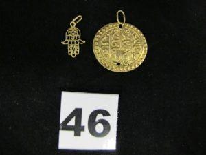2 pendants d'oreille en or (L 3,5cm). PB 1,8g