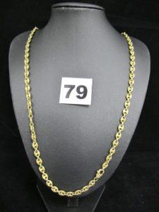 1 chaîne en or maille grain de café (L 57cm). PB 37,6g