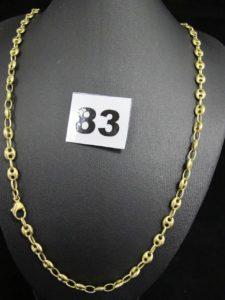 1 chaîne en or maille grain de café (L 54cm). PB 16,6g