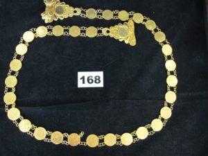 1 ceinture en or, ornée de motifs style pièces (L 92cm, 1 attache a re-souder). PB 81,1g