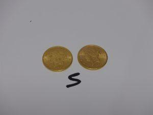 2 Pièces de 20 Dollars Tête de Liberté en or (1894/1900). PB 66,9g