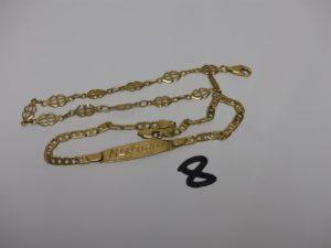 2 bracelets cassés en or. PB 9,6g