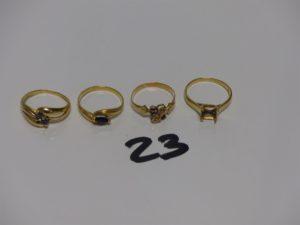 4 bagues en or : 2 avec pierres (Td53/54) 2 chatons vides (Td52/55). PB 8grs