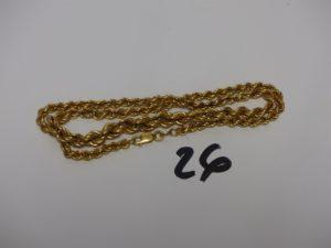 1 collier maille corde en or (L42cm). PB 12,6grs