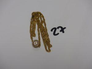 1 collier maille torsadée en or orné d'1 motif avec petites pierres (L58cm, 1 chaton vide). PB 12,8grs