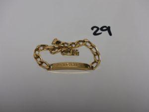 1 bracelet gourmette en or identité gravée (L21cm). PB 26,6grs