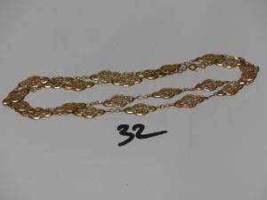 1 collier en or à motifs filigranés (L76cm). PB 23,6g