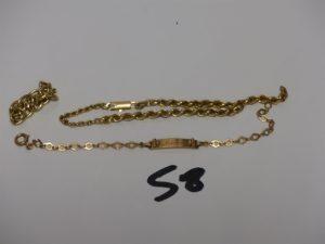2 bracelets en or : 1 fantaisie identité gravée (L14cm) et 1 cassé + 1 bris d'or. PB 6,9g