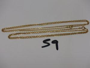 2 chaînes maille alternée en or (L50/56cm). PB 11,1g