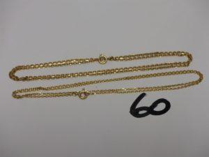 2 chaînes maille alternée en or (L48/50cm). PB 9g