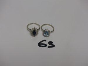 2 bagues en or ornées d'1 pierre entourage petits diamants (Td55, 1 chaton vide). PB 6,8g