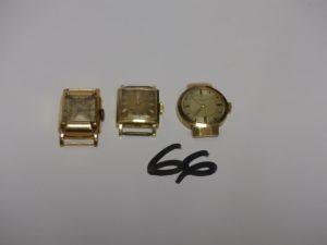 3 boitiers de montre CASSE. PB 33,7g
