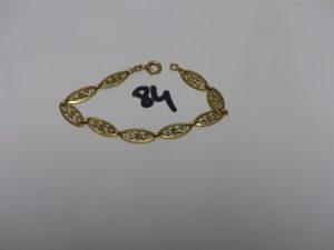 1 bracelet en or à motif filigrané (L19cm). PB 8,7g