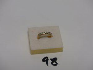 1 alliance en or serti-griffes 8 petits diamants environ 0,40cts le tout (Td53,1 chaton vide). PB 3,2g