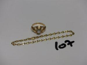 1 bague monture ouvragée en or rehaussée d'1 petite pierre (Td51) et 1 bracelet maille grain de café en or (L18cm). PB 7,1g