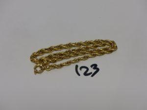 1 collier maille tressée en or (L44cm). PB 18,5g