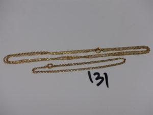 1 chaîne et 1 bracelet maille plate (L66cm et 20cm). Le tout en or PB 8,8g